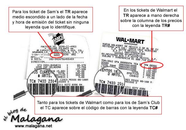 Guía para encontrar los TR y TC de los Tickets de Walmar y Sam's Club