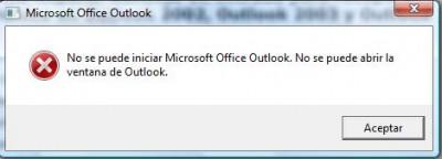 """¿Que hacer cuando sale """"No se puede iniciar outlook. No se puede abrir la ventana de Outlook.""""?"""
