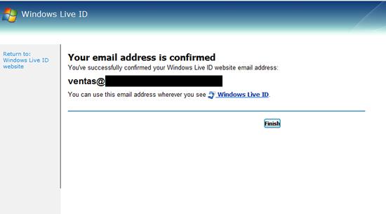 Paso 2: Cuenta de Windows Live ID confirmada