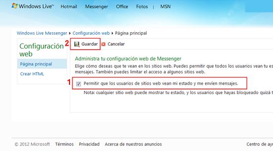 Activar Messenger un widget de messenger para un sitio web