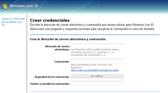 Usar cualquier correo con Messenger: Paso 1 completando el formulario