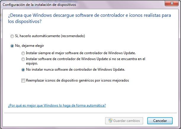 Instalación automática de controladores en windows 7