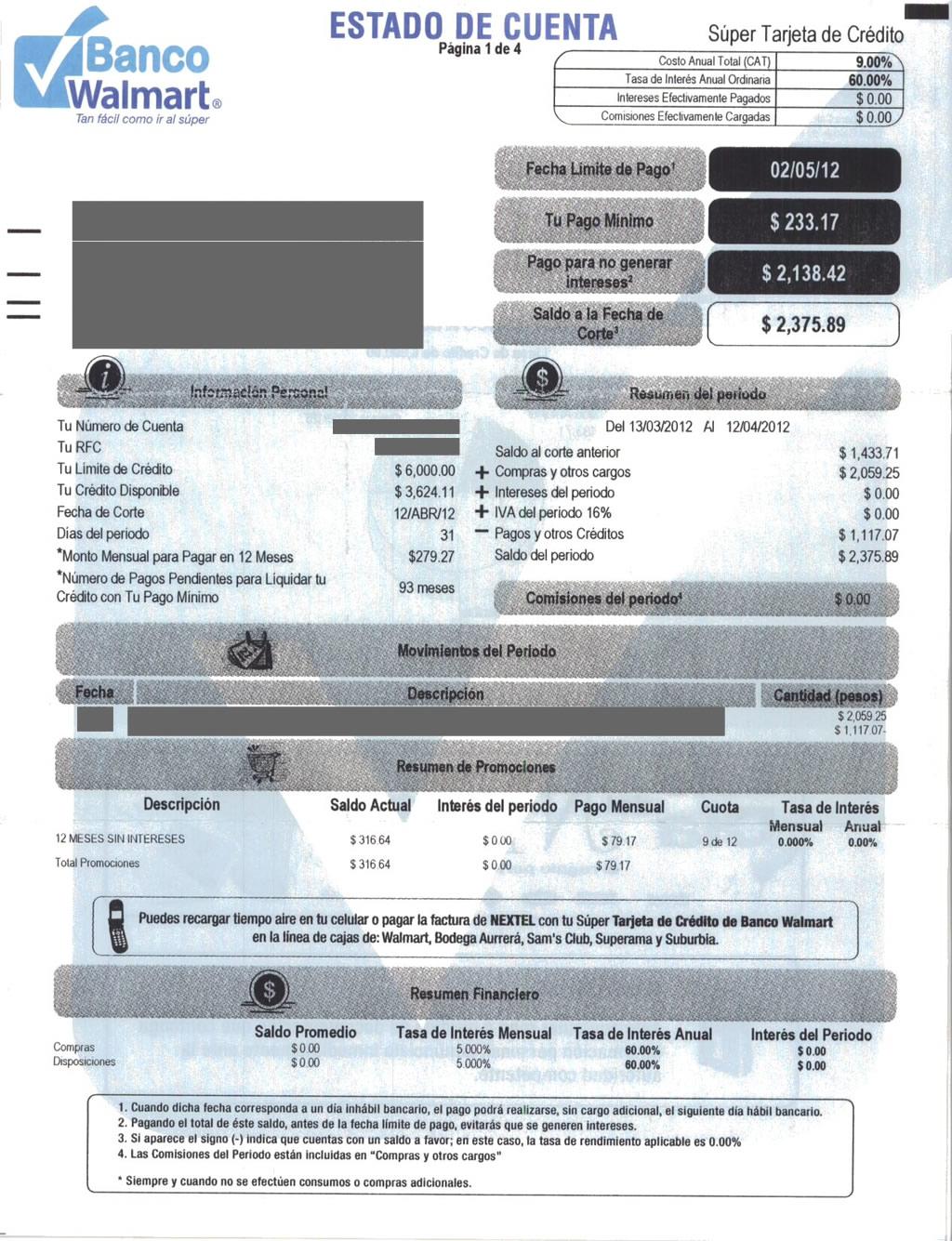 estado de cuenta de tarjeta banco walmart sam s club explicado