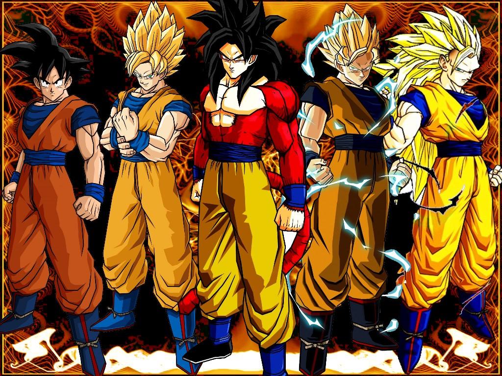 Goku en diferentes niveles Saiyan