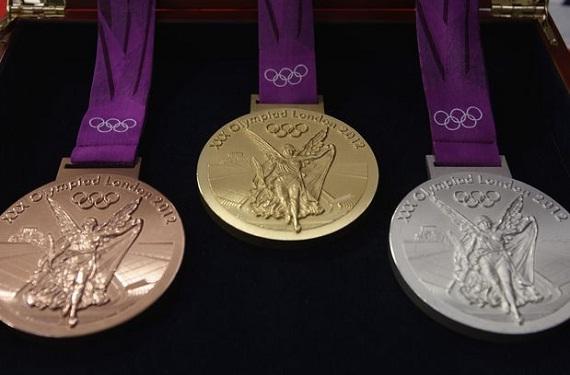Las medallas de oro, plata y bronce modelo 2012