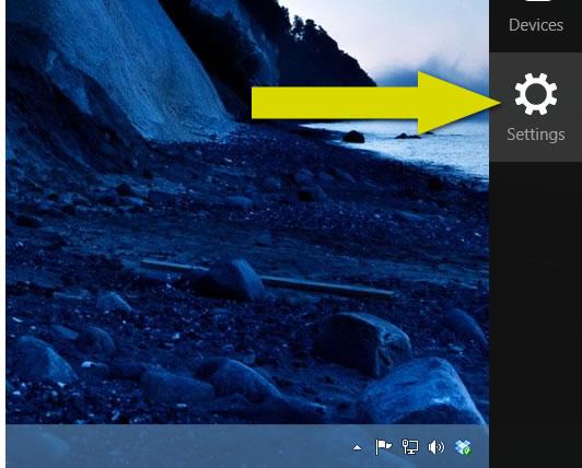 Paso 1 para apagar o reiniciar un equipo con Windows 8