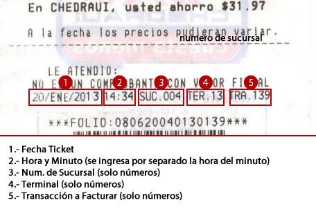 Información de Facturación Electrónica en el Ticket de Chedraui