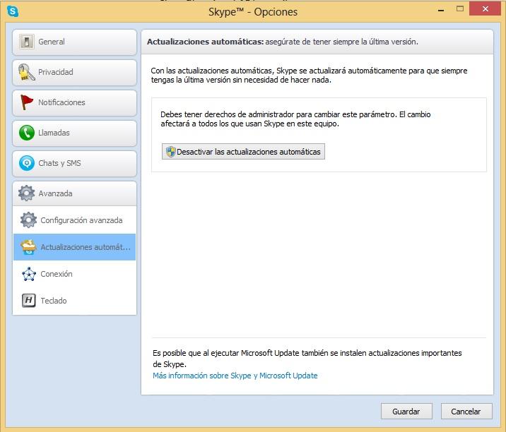 Skype 6.3 deja de funcionar