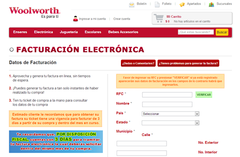Factura Electrónica Woolworth