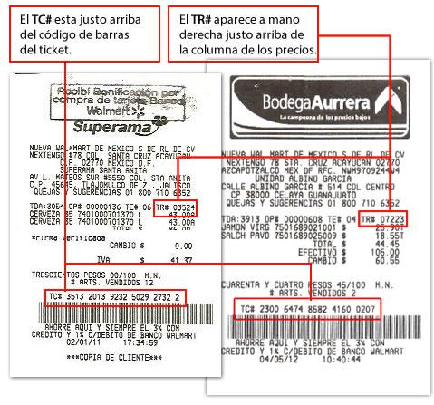 TR y TD Ticket Superama y Bodega Aurrera