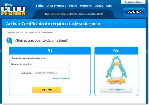 Como activar Certificado de regalo o tarjeta de socio   Club Penguin