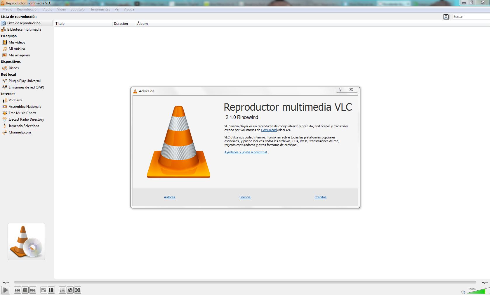 VLC 2.1 Interfaz