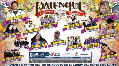 Cartelera de Artistas de la Feria Pachuca Hidalgo 2013