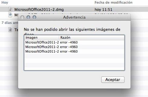 Como solucionar el Error 4960 Office 2011 Mac