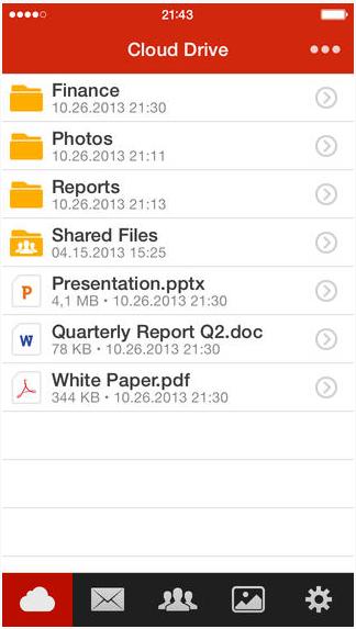Interfaz de MEGA para iOS 7