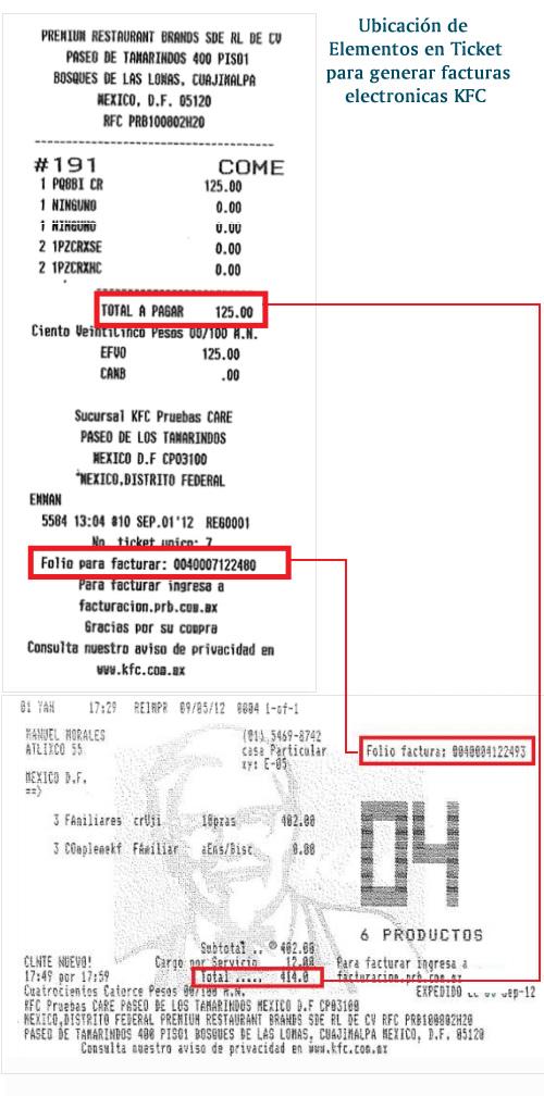 Identifica los elementos del ticket de compra de KFC para hacer tu factura electrónica en línea.