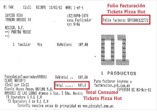 Te indicamos los elementos importantes de los tickets de consumo de Pizza Hut México para sacar tus facturas electrónicas por Internet.