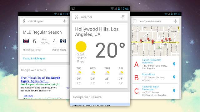 Tarjetas de información de Google Now