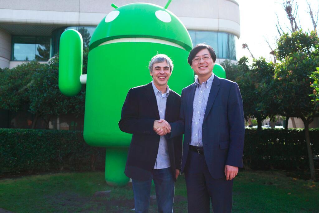 CEO de Google Larry Page y el director ejecutivo de Lenovo Yang Yuanqing