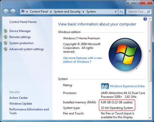 Solución al problema de Windows 32 bits con mucha memoria ram