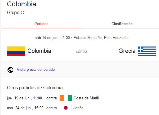 Calendario de partidos de Colombia en el Mundial