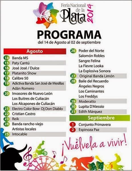 Consulta el programa de la Feria de Fresnillo 2014