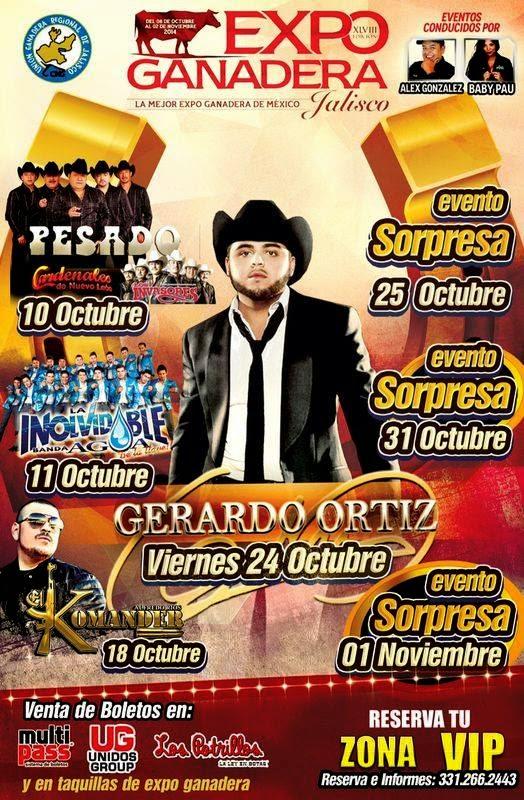 Los dejamos con el poster oficial de los programas de bailes y artistas de la Expo Ganadera Guadalajara 2014