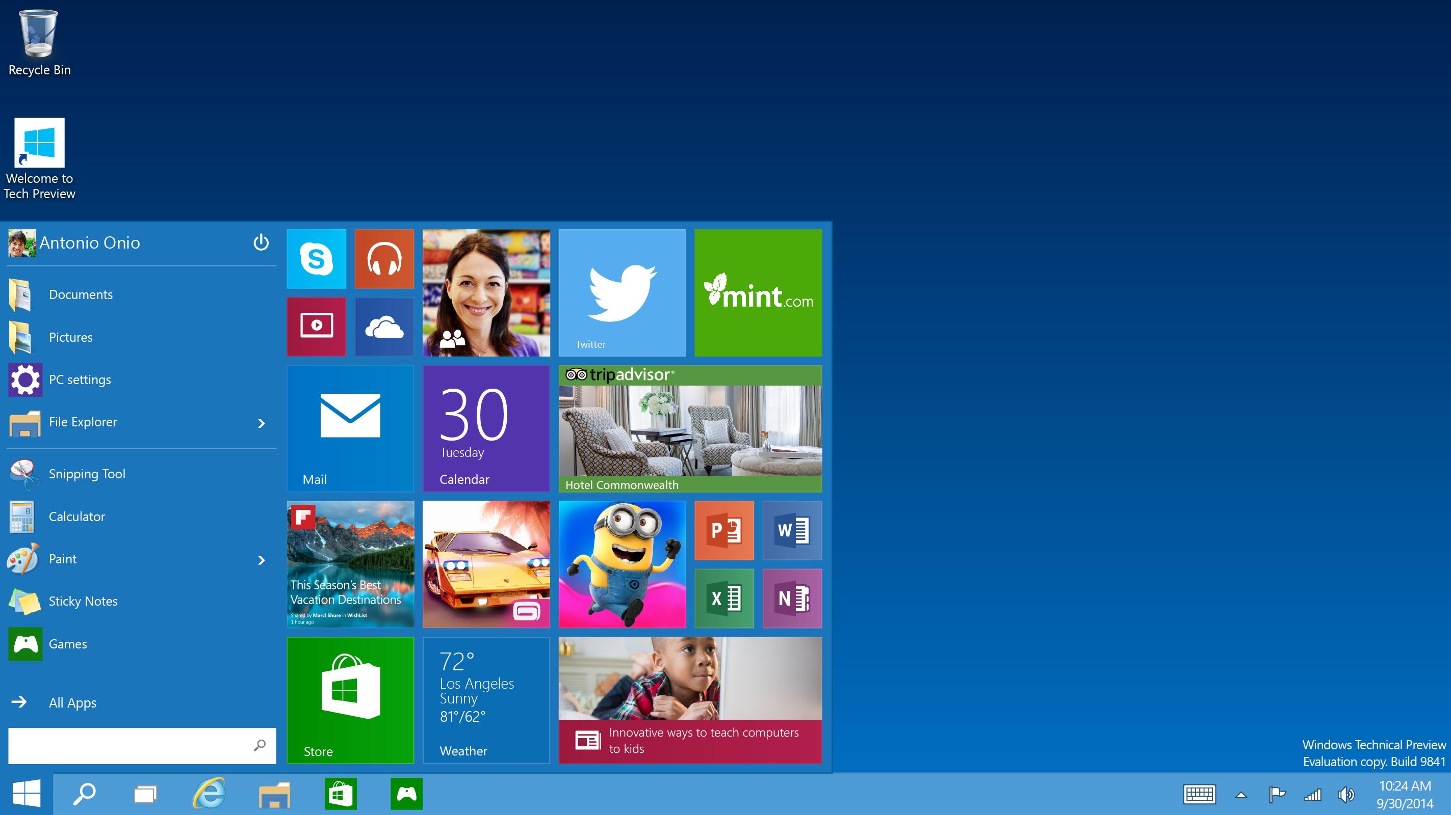 Así se ve el menú inicio en Windows 10