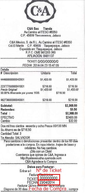 Ticket para facturación electrónica C&A