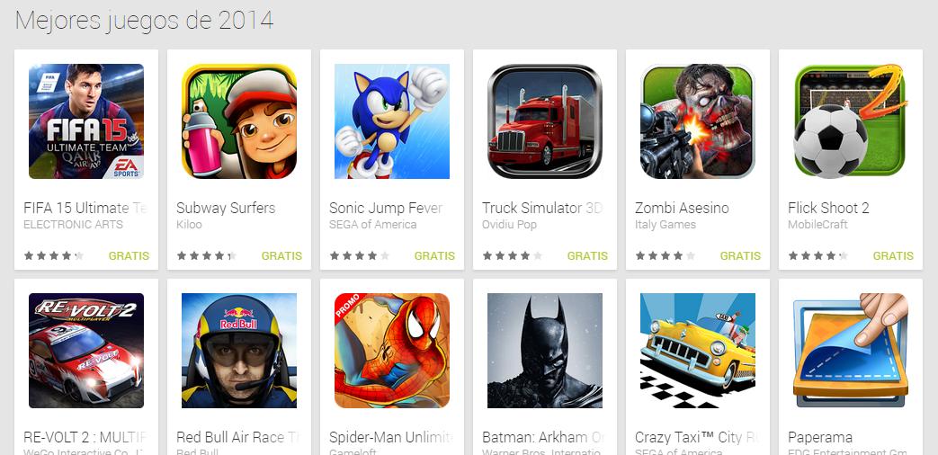 Lo mejor del 2014 en Play Store
