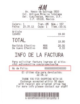 Te indicamos donde aparece la info para sacar tu factura electronica de H&M