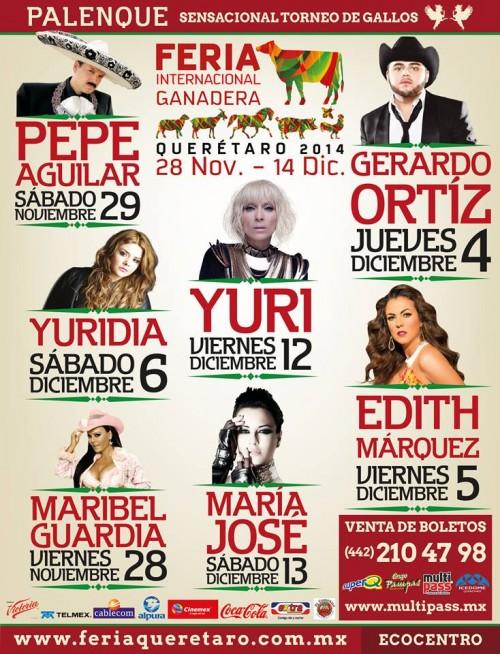 Cartelera de artistas del Palenque Feria Querétaro 2014