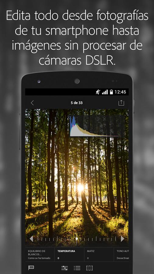 Interfaz de Lightroom para Android