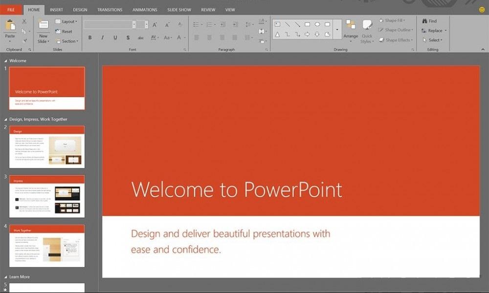 Posible interfaz de Power Point 2016