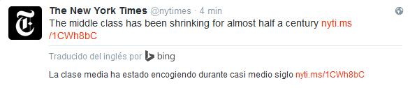 Este es un ejemplo de lo que hace Bing en Twitter