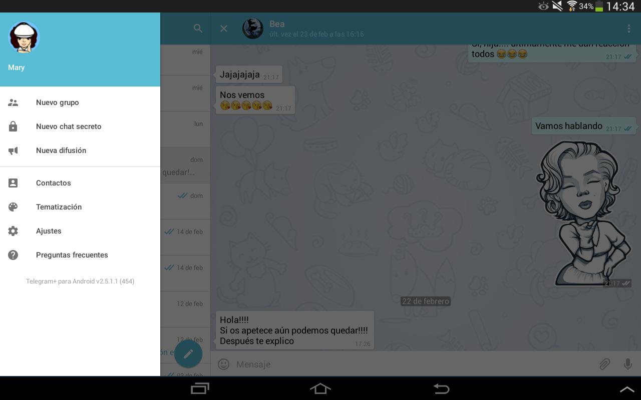 Telegram+ con una variada paleta de colores para personalizar la interfaz
