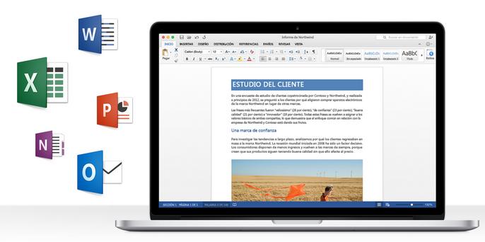 Los programas que instala la suite son Word, Excel, PowerPoint, OneNote y Outlook