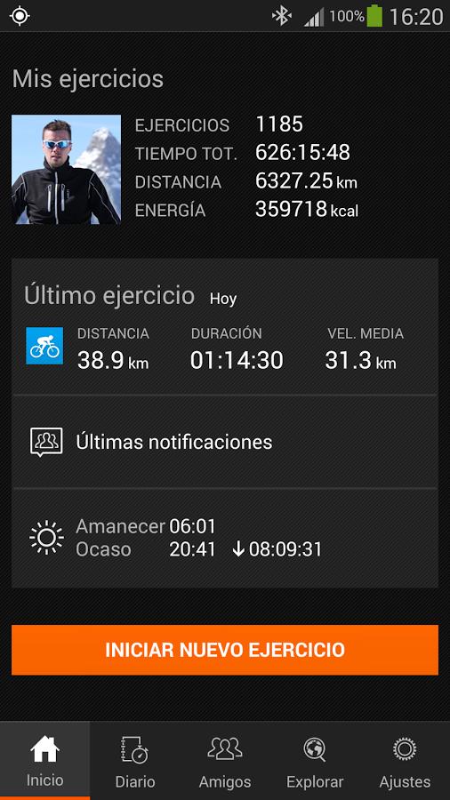 Interfaz Sport Tracker