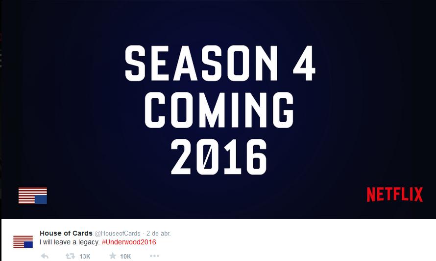 Tweet que confirma la 4 temporada de House of Cards