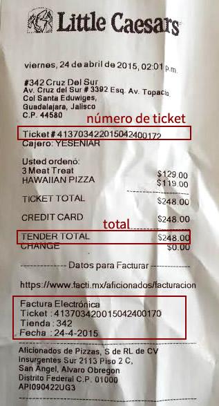 sacar factura electr u00f3nica de little caesars pizza m u00e9xico