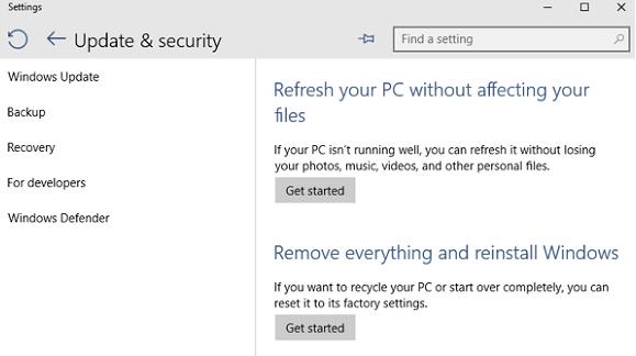 Este es el menú con las funciones para resetear o restaurar Windows 10