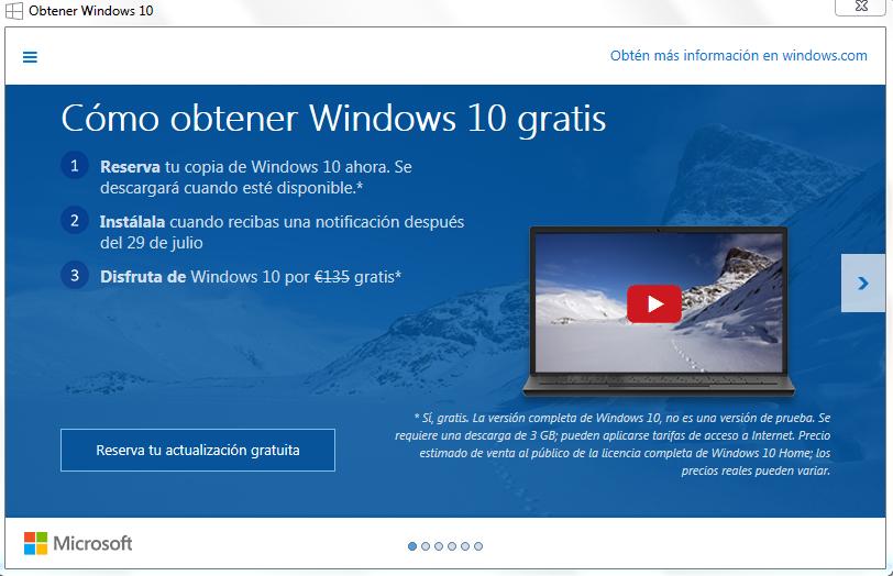 Notificación para actualizar a Windows 10