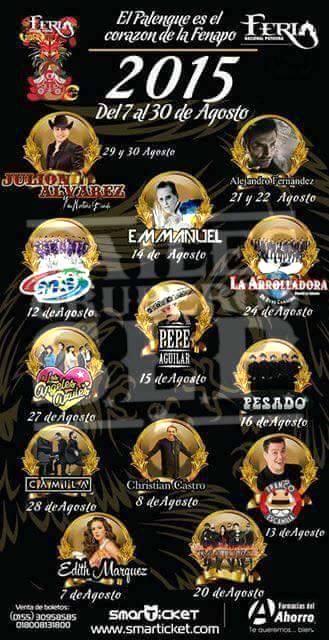 Cartelera de Artistas del Palenque FENAPO 2015