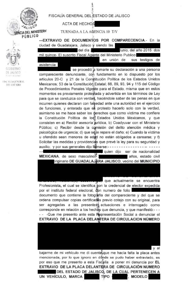 Este es el documento que se obtiene al presentar una denunciar por extravio , robo de placas o documentos en el estado de Jalisco