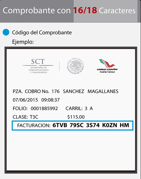 Ejemplo de ticket de cruce CAPUFE de 16 a 18 digitos