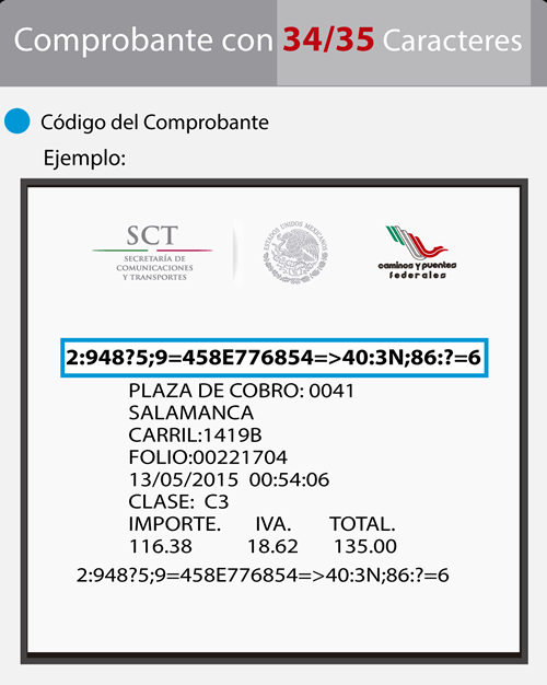 Ejemplo de ticket de cruce CAPUFE de 34 a 35 digitos