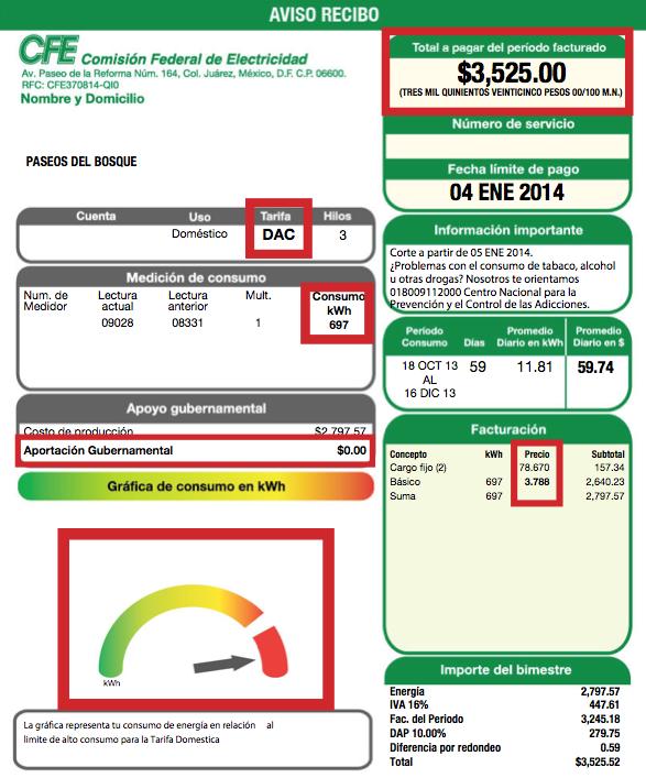 En el siguiente recibo podemos ver como se eliminan los subsidios normales a la tarifa de la luz al entrar a la tarifa DAC.
