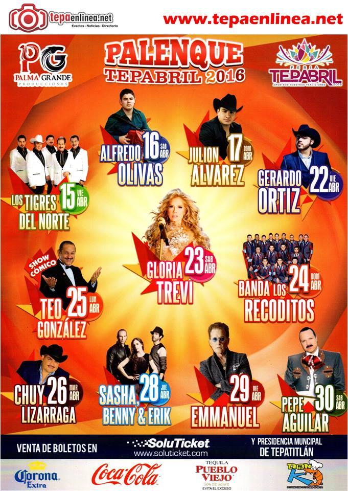 Esta es la lista de artistas en la Feria Tepabril 2016