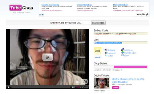 Con TubeChop puedes cortar facilmente las partes de los videos de Youtube que más te llamen la atención.