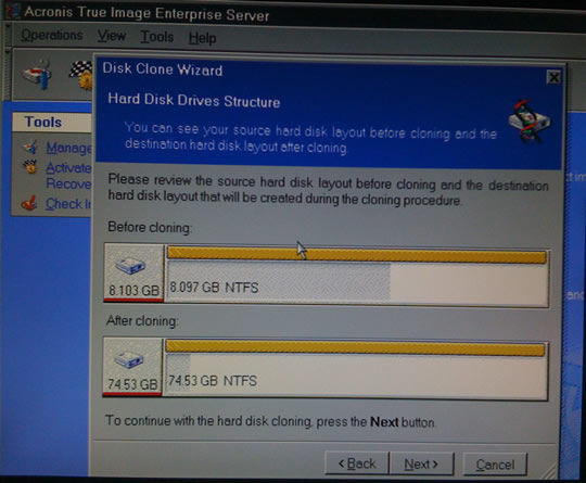 Clonando disco duro con Acronis True Image
